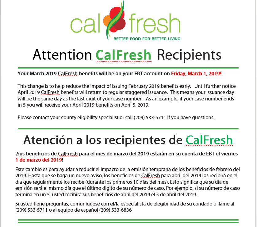 CalFresh benefits for March