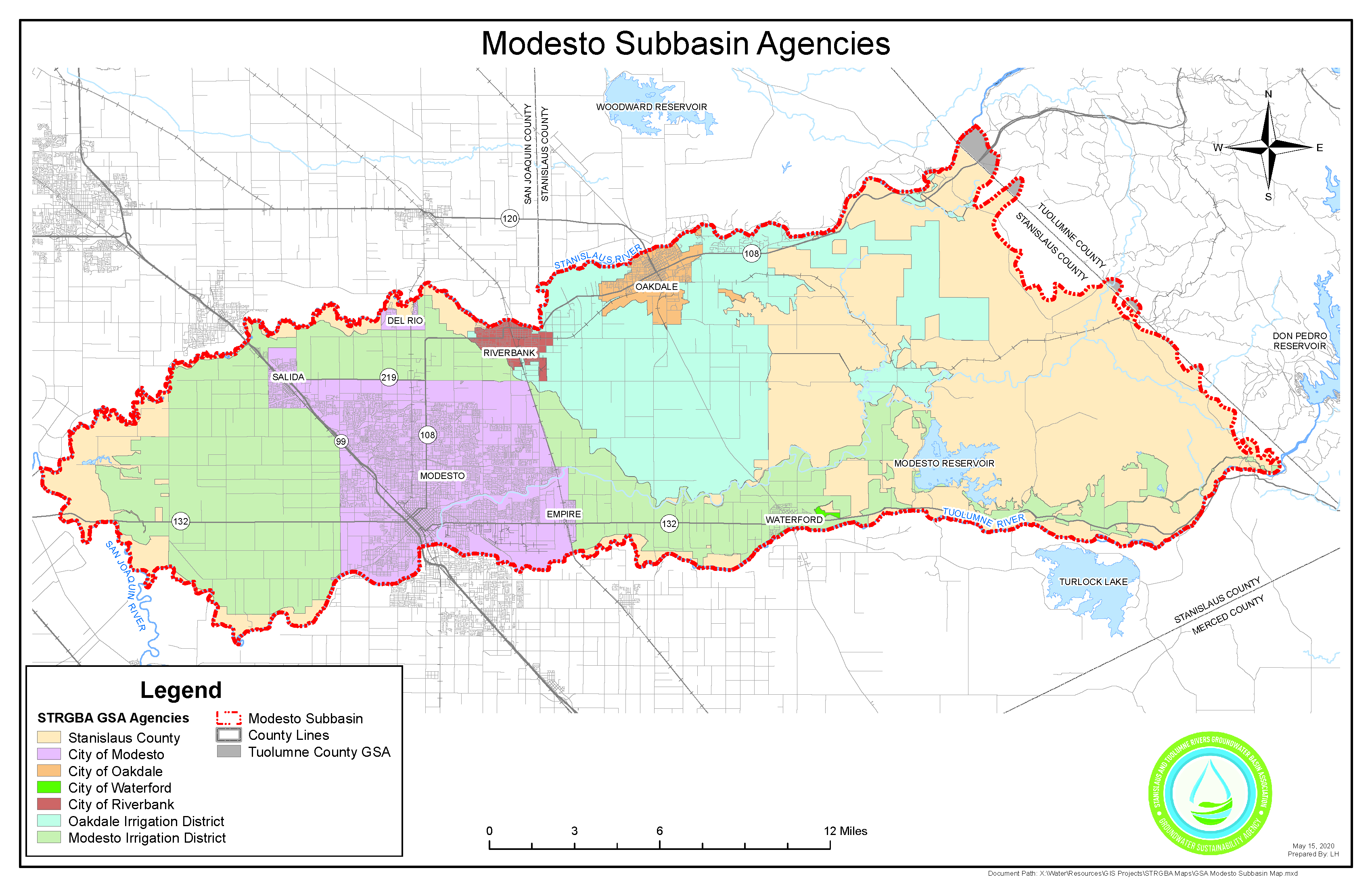 GSA Modesto Subbasin Map REV1