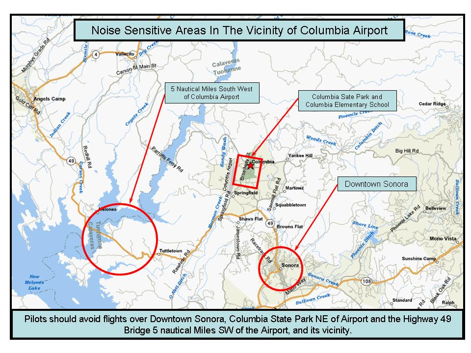Columbia Airport noise sensitive areas map