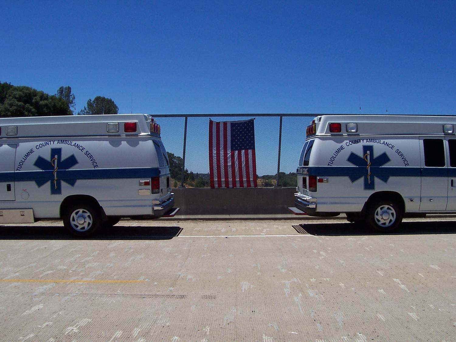 Ambulances with flag