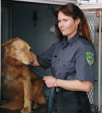 Animal control officer with dog
