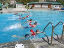 Participants in lifeguard training class