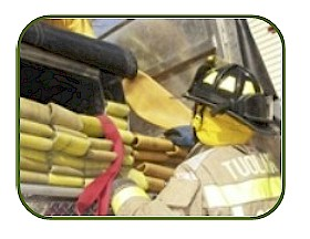 Firefighter Checking Hose